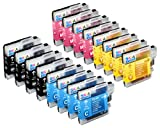 Skia Ink Cartridges ¨ 16 Pack Compatible with Brother LC61(LC61BK LC61C LC61M LC61Y) for MFC-J410W, MFC-795CW, MFC-255CW, MFC-J270W, MFC-J415W, MFC-5895CW, MFC-250C, MFC-5490CN, MFC-790CW, MFC-990CW, DCP-J125
