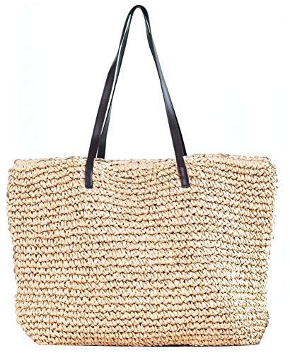 (Obosoyo Women's Classic Straw Handbag Summer Beach Sea Shoulder Bag Large Tote (Style2-Beige))