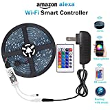 #9: WenTop Wifi Wireless Smart Phone Controlled Led Strip Light Kit with DC12V UL Listed Power Supply Waterproof SMD RGB 5050 16.4Ft(5M) 150leds Flexible Music Led Lights Work with Android, IOS and Alexa