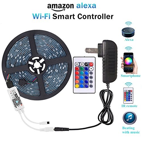 WenTop Wifi Wireless Smart Phone Controlled Led Strip Light Kit with DC12V UL Listed Power Supply Waterproof SMD RGB 5050 16.4Ft(5M) 150leds Flexible Music Led Lights Work with Android, IOS and Alexa