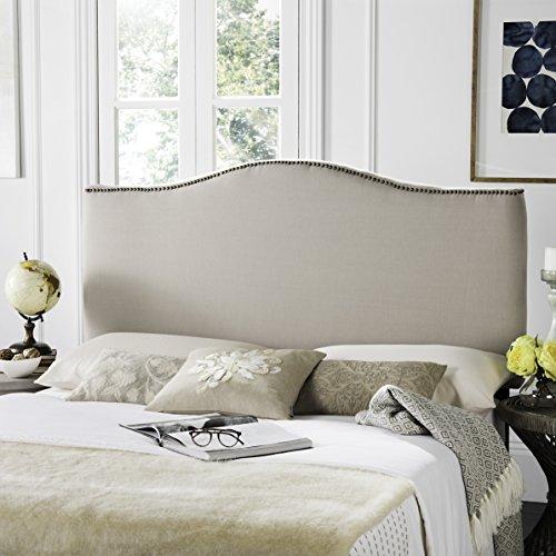 Safavieh Jeneve Taupe Linen Upholstered Headboard - Brass Nailhead (King)