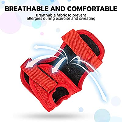 .com - A-code Kids Sports Safety Protective Gear Set, Youth Knee Pads Elbow Pads Wrist Guards Set for Skating Cycling Bike and Other Outdoor Sports (Red) -