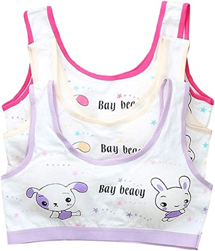 YUMILY 8-12 Years Girls Cami Sports Training Bras with Adorable Pattern Daily Bralette for Young Girl