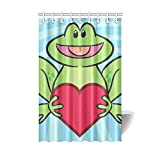 Bathroom Waterproof Polyester Fabric Lovely Cartoon Frog Shower Curtain with 9 holes-Environmentally friendly