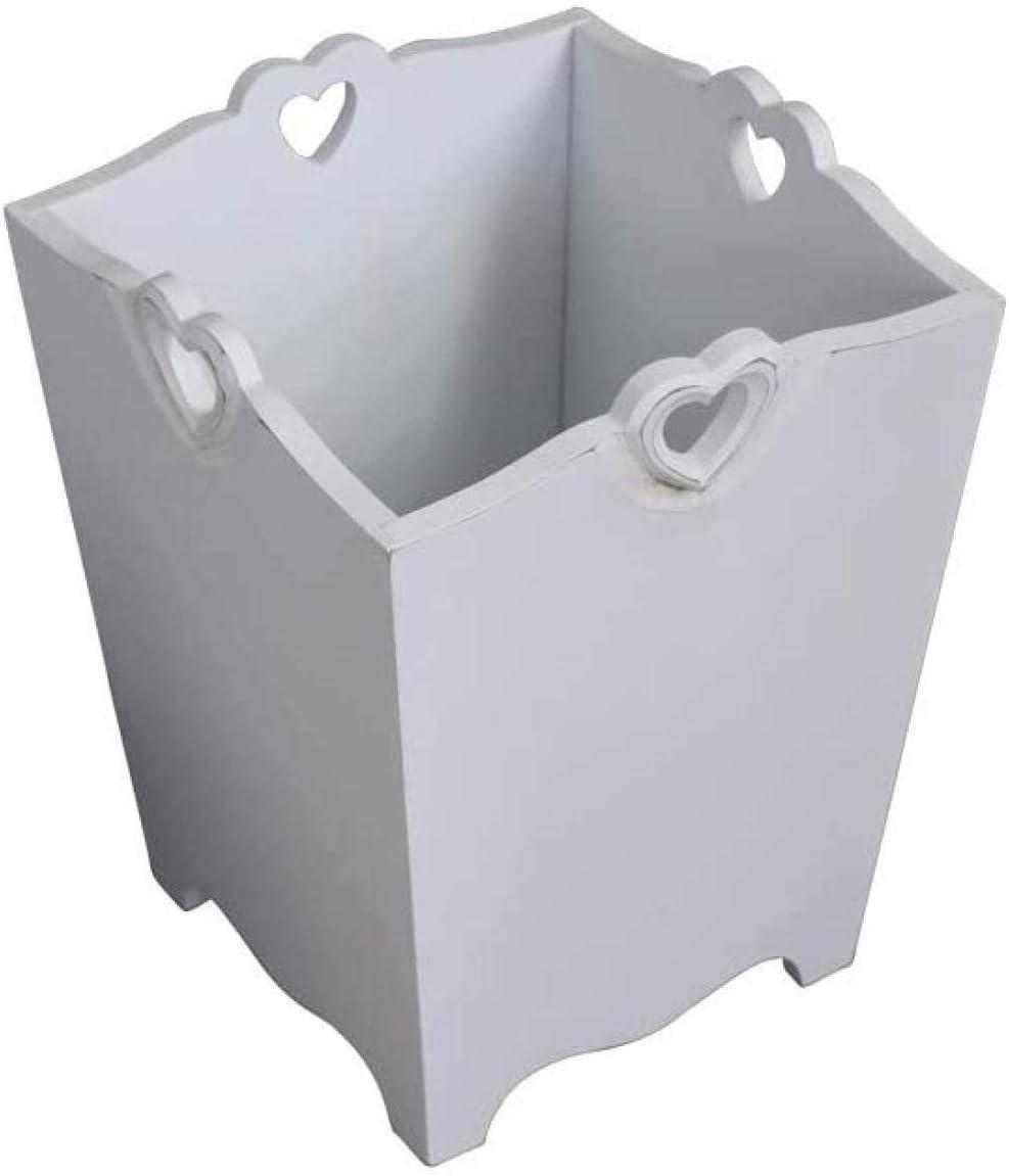 AIMAIMAI Herz Detail Wei/ß Holz Abfall Papierkorb