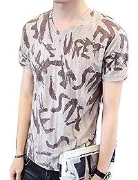 Generic Men's Prints V-Neck Linen Slim Fit Shorts Sleeve Shirts