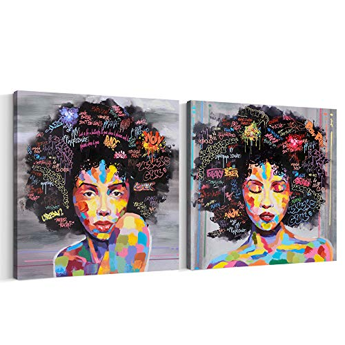 FREE CLOUD Crescent Art Abstract Pop Black Art African American Wall Art Afro Woman Painting on Canvas Print Wall Picture for Living Room Bedroom Wall Decor (Set Framed, 20 x 20 inch)
