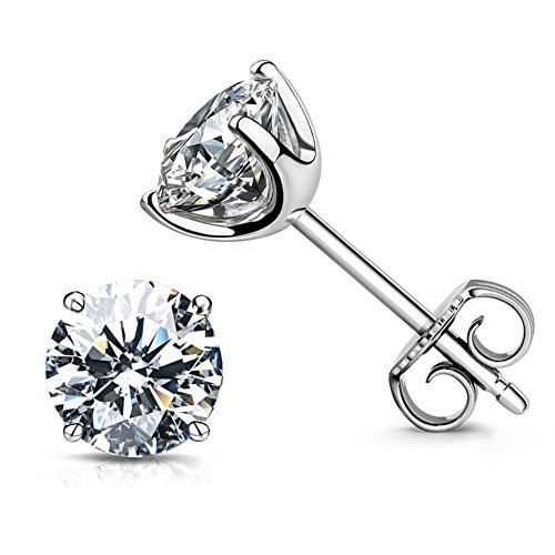 CZ Stud Earrings 18K White Gold Plated Sterling Silver Simulated Diamond Round Cubic Zirconia Ear Studs