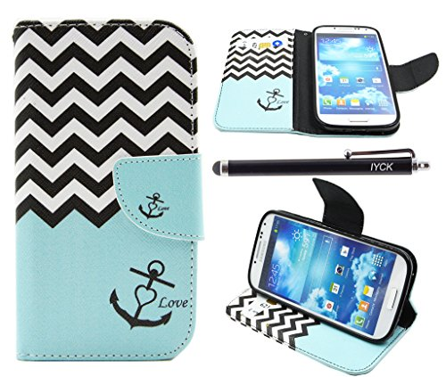 S4 Case, Galaxy S4 Case, iYCK Premium PU Leather Flip Folio Carrying Magnetic Closure Protective Shell Wallet Case Cover for Samsung Galaxy S4 with Kickstand Stand - Wavy Anchor (Samsung Galaxy S4 Cases For Girls)