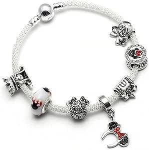 Pulsera estilo Pandora charms Disney cristales rojo y