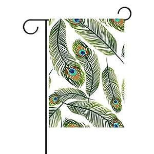 jstel casa bosque de pavo real tela de poliéster jardín banderas Lovely y resistente al moho Custom de resistente al agua 12x 18inch