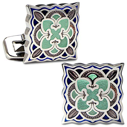 VIILOCK Elegant Fancy Oriental Collection Classic Cloisonne Cufflinks Imperial Enamel Retro Flower Sleeve Button (Blue&Green)