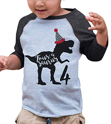 7 ate 9 Apparel Four Forth Birthday Dinosaur Grey Baseball Tee ()
