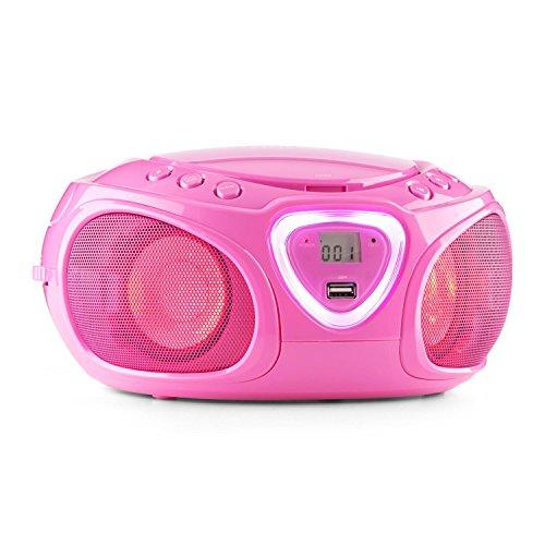 auna Roadie Boombox mobiler CD-MP3-Player mit USB-Anschluss Stereolautsprecher Küchenradio (Bluetooth, 2.1 LED-Beleuchtung mit Rhythmussteuerung, UKW-Radio, AUX, Batteriebetrieb, Tragegriff) pink