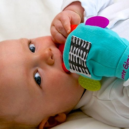 Gummee Glove Wearable Multi Sensory Baby Teether Toy, with Detachable Food Grade Silicone Teething Ring for Easy Cleaning and Refrigeration