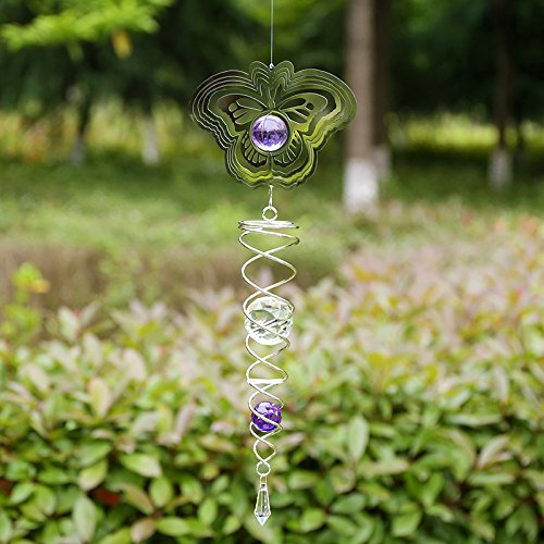 Butterfly Wind Spinners Outdoor, 3 D Garden Metal Wind Spinner Whirligig Stainless Steel Kinetic Hanging Spinner for Patio, Deck or Yard, Including Helix Spiral Tail Glass Ball Swivels Hooks,6