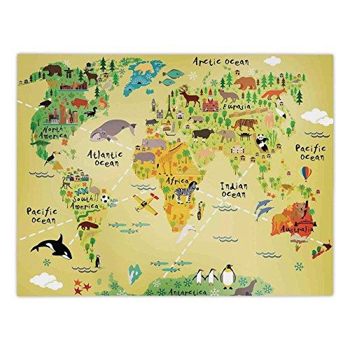 Maple Atlantic Desk (Rectangular Satin Tablecloth,Kids Decor,Educational World Map Africa America Penguins Atlantic Pacific Ocean Animals Australia Panda Decorative,Dining Room Kitchen Table Cloth Cover)