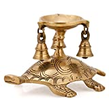 Aone India Diya Oil Lamp Stand Brass Hindu Religious Puja Candle Holder Stand Fengshui Gifts Tortoise Sculpture + Cash Envelope (Pack Of 10)