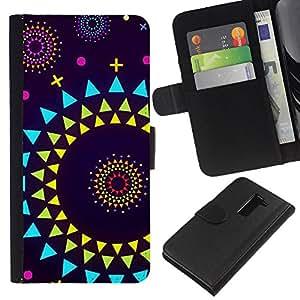 Stuss Case / Funda Carcasa PU de Cuero - Resumen Polígono Arte púrpura - LG G2 D800