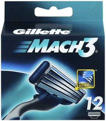 Gillette Mach 3 - Cartucho de cabezales de cuchillas (12 unidades ...