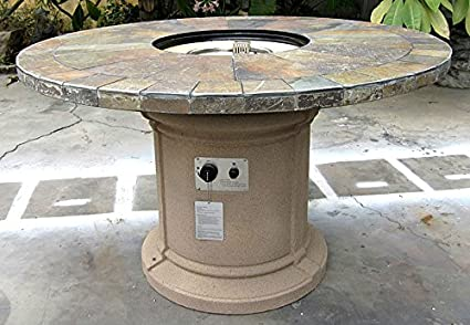 Amazon Com Gas Fireplace Fire Pit Outdoor Natural Slate 48 Table