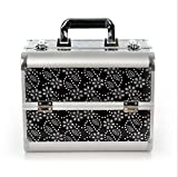 Bbshop Mini Makeup Train Case Alumi Portable Cosmetic Box With Mirror (Black)