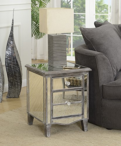 Convenience Concepts 413551WGY Gold Coast Mirrored End Table, Weathered Gray (Cabinets Bedside Mirrored)