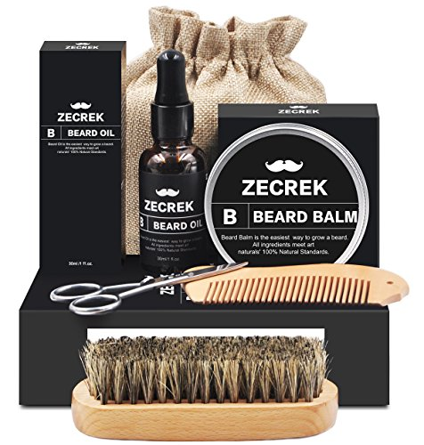 Beard Grooming & Trimming Kit for Men Care with Unscented Beard Oil Leave-in Mustache & Beard Balm Wax, Beard Comb, Brush, Mustache Scissors Gift set for Styling Shaping Growth (Beard Grooming Kit)