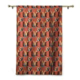 HCCJLCKS Cartoon Curtain Dark Coral Vivid Colored Image Modern Capital Love Valentines Lettering Art Thermal Insulated Block Out Sunlight Shade Dark Brown Blue Vermilion W27 xL64