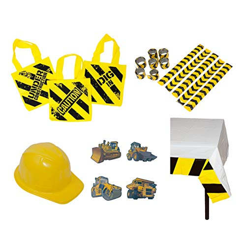 Construction Birthday Party Supplies: Ready-To-Use Favor & Decoration Set - (12) Plastic Construction Hats, (12) Construction Zone Tote Bags, (72) Tattoos, (12) Slap Bracelets, (1) Table Cover ()