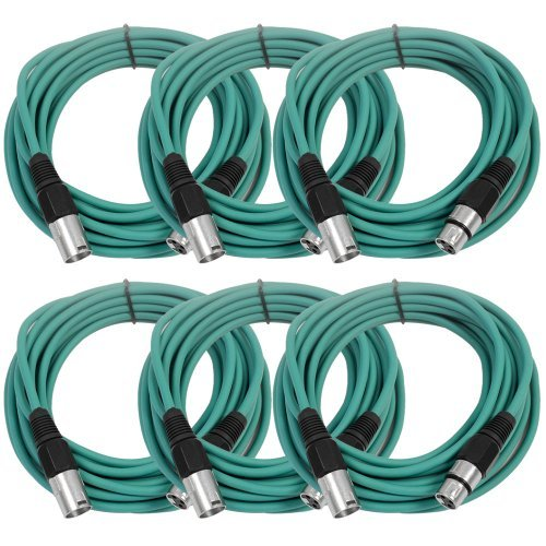 SEISMIC AUDIO - SAXLX-25 - 6 Pack of 25' Green XLR Male to XLR Female Microphone Cables - Balanced - 25 Foot Patch Cords