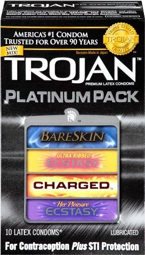 Trojan Platinum Pack Premium Latex Condoms, 10ct