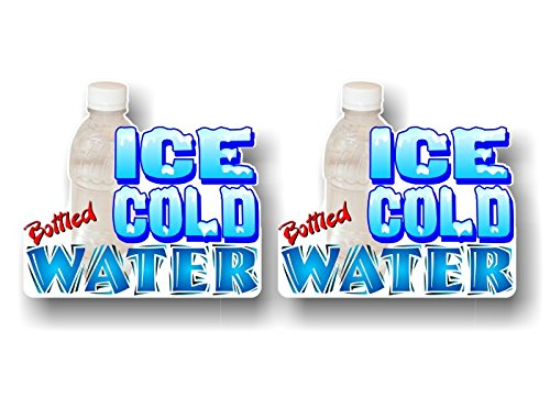 2 ICE COLD BOTTLED WATER 4.5'' Decals Concession Trailer Cart Grocery Gourmet Food Convenience Store Shop Counter Wall or Window Stickers ((2) 4'' x 4.5'' Decals)