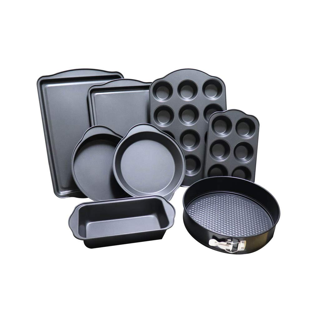 Chao Jia Bakeware 8 Pack - Set of 8 Carbon Steel Baking Trays, Roasters, Muffin & Cake Tins - Dual Layer Teflon Silicone Non-Stick Coating - Dishwasher, Fridge & Freezer Safe - Premium 10 Set includes: 2 Cookie Sheet(Large & Medium), , Loaf Ti