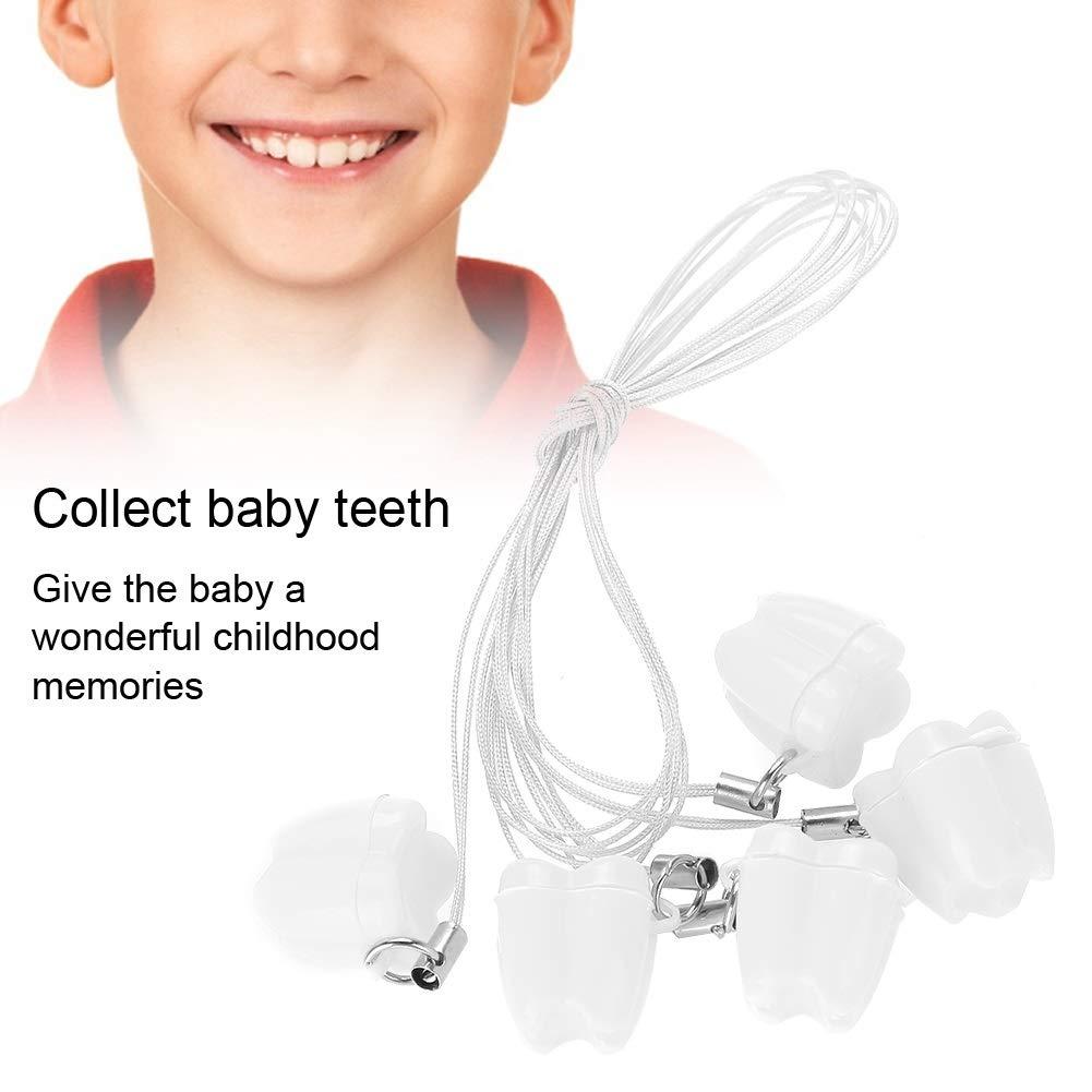 Caja dientes de leche Color : Azul caja de almacenamiento de pl/ástico del diente de la leche del beb/é 5pcs con los collares del ahorrador del diente de la cuerda