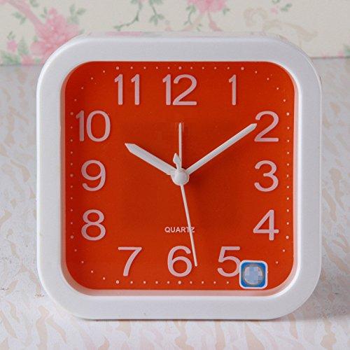 - Tuersuer Best Alarm Clock Creative Square Shape Silent Alarm Clock for Kids Children Students (Orange)