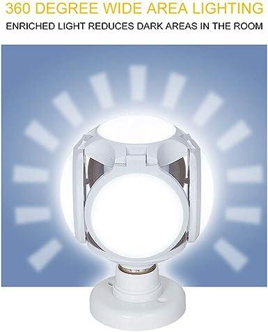 Pantaya Garage Light E27 Deformable LED Bulb Ceiling Fixture 45W 60W Adjustable Home Shop Workshop Basement Lamp