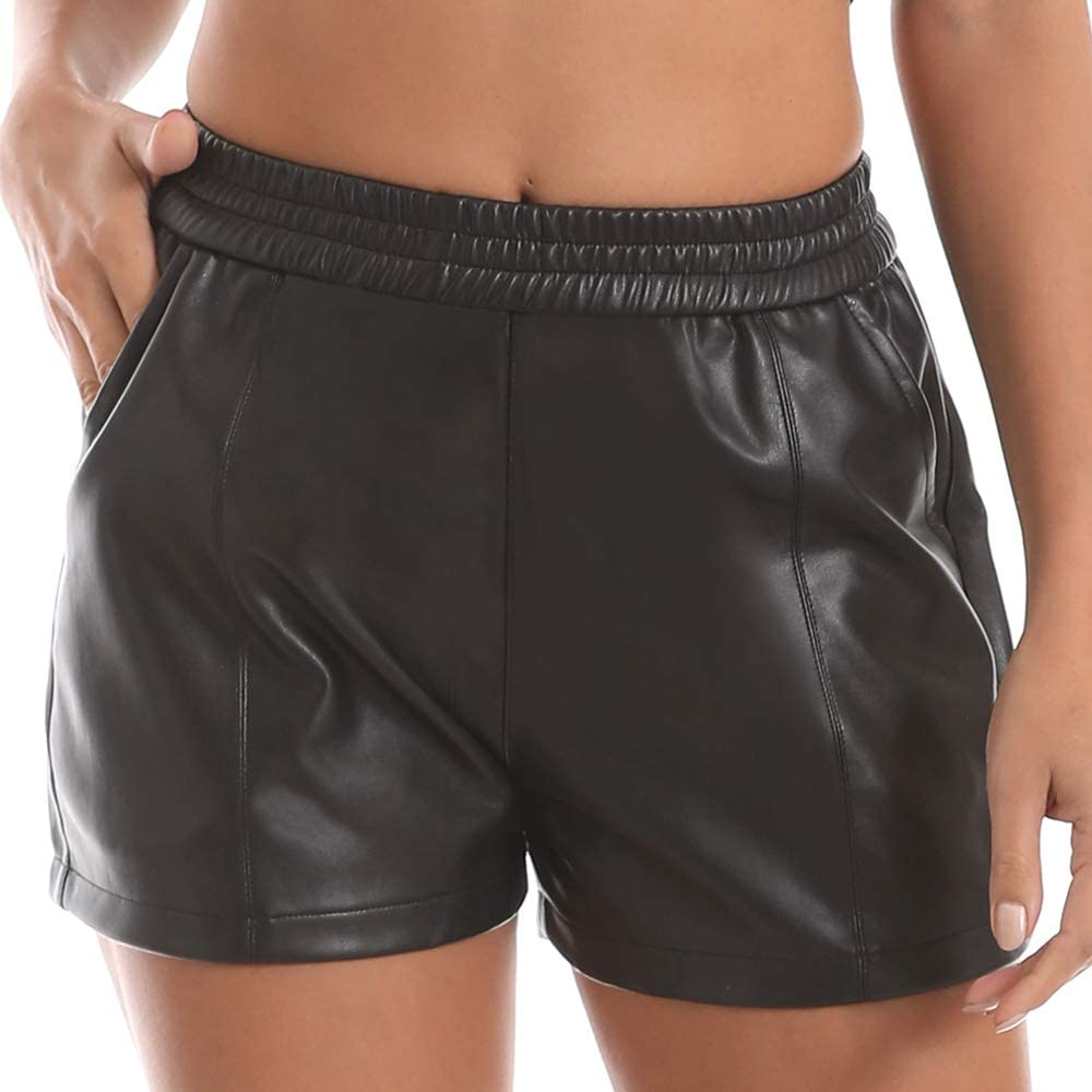 Everbellus Womens Elastic Waist Loose Shorts with Pockets Faux Leather Shorts