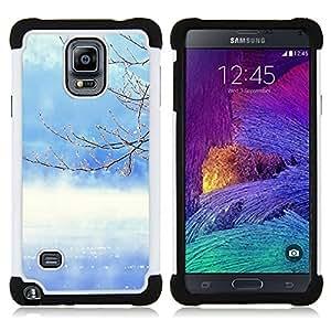 """Hypernova Híbrido Heavy Duty armadura cubierta silicona prueba golpes Funda caso resistente Para Samsung Galaxy Note 4 IV / SM-N910 [Naturaleza del árbol del invierno""""]"""