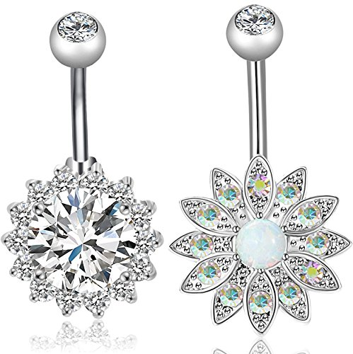 D&g Jewelry (REVOLIA 2-3Pcs 14G Stainless Steel Belly Button Rings for Women CZ Flower Body Piercing Jewelry (G :2Pcs Style D))