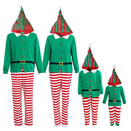 Yaffi Family Matching Christmas Pajamas Set One Piece Striped Hooded Sleepwear Santa Claus Elf Cosplay Outfit for Kids Adult Men: M Green