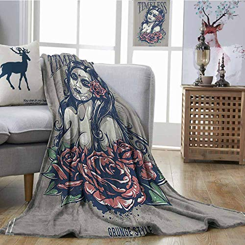 Zmcongz Digital Printing Blanket Skulls Decorations Collection Day of Dead Girl with Tattoos on Her Face Roses Lady Witch Woman Timeless Sign Art All Season for Couch or Bed W51 xL60 Grey Black ()