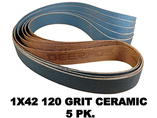 1 in. X 42 in. Ceramic Sharpening Sanding Belt for 1x42 Belt Sanders 5 Pack 120 Grit ceramic Abrasive (Ceramic, 120 Grit)