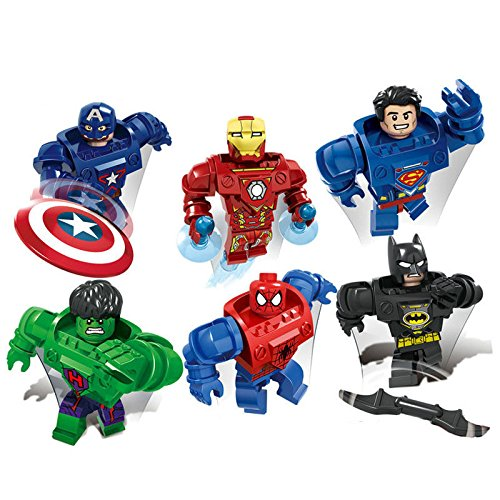 [gonggamtop Super heros mecha minifigure:Batman Iron MAN Hulk Spiderman building blocks 6set] (Morph Suit Costumes Ideas)