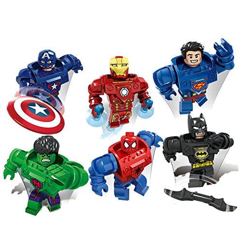 gonggamtop Super heros mecha minifigure:Batman Iron MAN Hulk Spiderman building blocks 6set