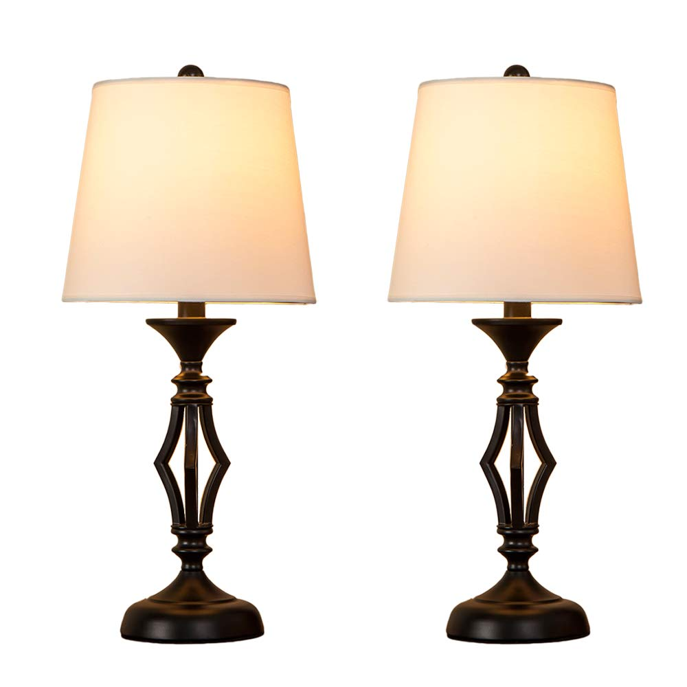 POPILION Antique Black Hollowed Metal Base Set of Two Livingroom Table Lamp, Bedroom Bedside Table Lamps with White Fabric Shade