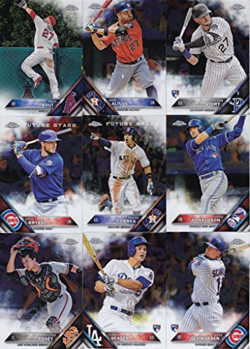 Complete Base Card Set - 2016 Topps Chrome MLB Baseball Series Complete Mint 200 Card Set with Rookies and Stars including Mike Trout, Bryce Harper, Corey Seager, Gary Sanchez plus