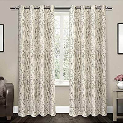 "Exclusive Home Curtains Oakdale Sheer Textured Linen Grommet Top Curtain Panel Pair, 54x84, Taupe, 2 Piece - Oakdale panels offer a natural printed motif on a sheer, textured linen look fabric Includes:  Two (2) curtain panels, each measuring:   54""W x 84""L 8 matte silver grommets per panel; inside diameter for curtain rod measures 1-5/8"" - panel sewn with 4"" heading; 3"" bottom hem - living-room-soft-furnishings, living-room, draperies-curtains-shades - 5122eOyHx2L. SS400  -"