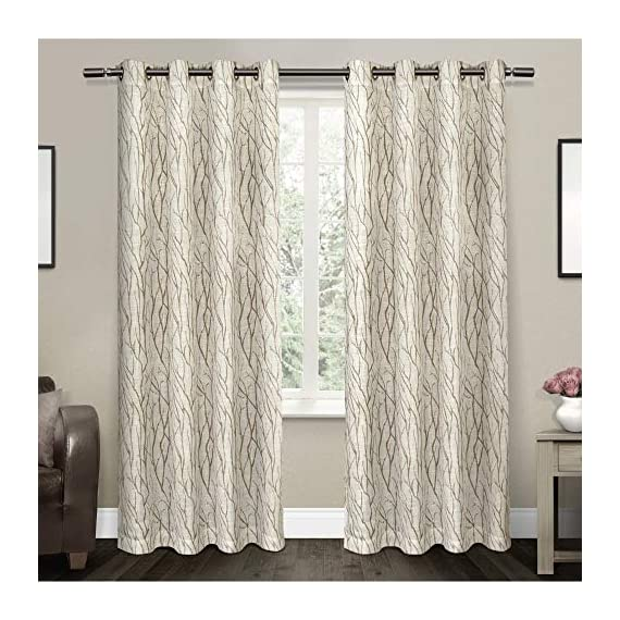 "Exclusive Home Curtains Oakdale Sheer Textured Linen Grommet Top Curtain Panel Pair, 54x84, Taupe, 2 Piece - Oakdale panels offer a natural printed motif on a sheer, textured linen look fabric Includes:  Two (2) curtain panels, each measuring:   54""W x 84""L 8 matte silver grommets per panel; inside diameter for curtain rod measures 1-5/8"" - panel sewn with 4"" heading; 3"" bottom hem - living-room-soft-furnishings, living-room, draperies-curtains-shades - 5122eOyHx2L. SS570  -"
