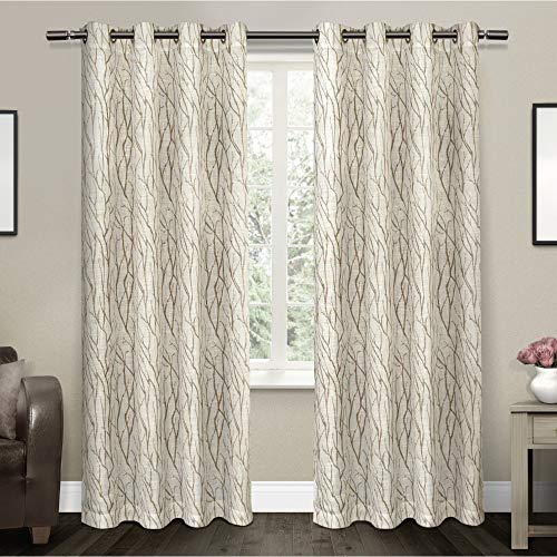 Exclusive Home Curtains Oakdale Motif Textured Linen Window Curtain Panel Pair with Grommet Top, 54×84, Taupe, 2 Piece